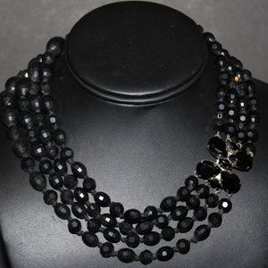 VINTAGE FACETED HAND KNOTTED FANCY CLASP NECKLACE